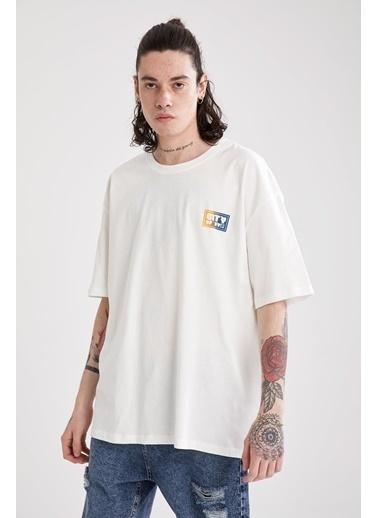 DeFacto Oversize Fit Bisiklet Yaka Baskılı T-shirt Ekru